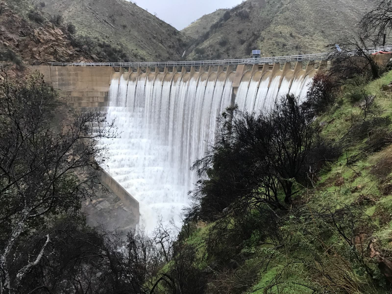 February, 2019. Jameson Lake shown spilling over Juncal Dam for the first time since 2011.