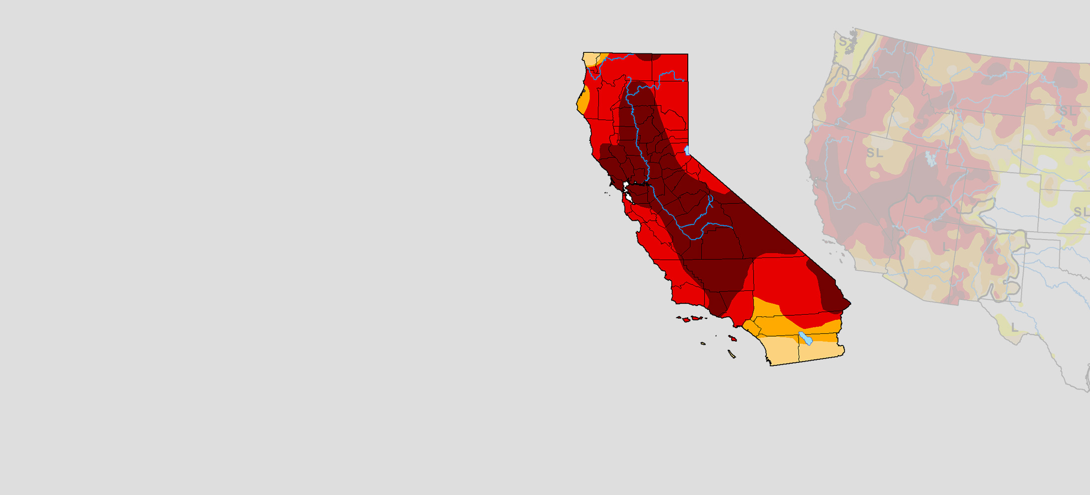 California Drought, droughtmap for August, 2021