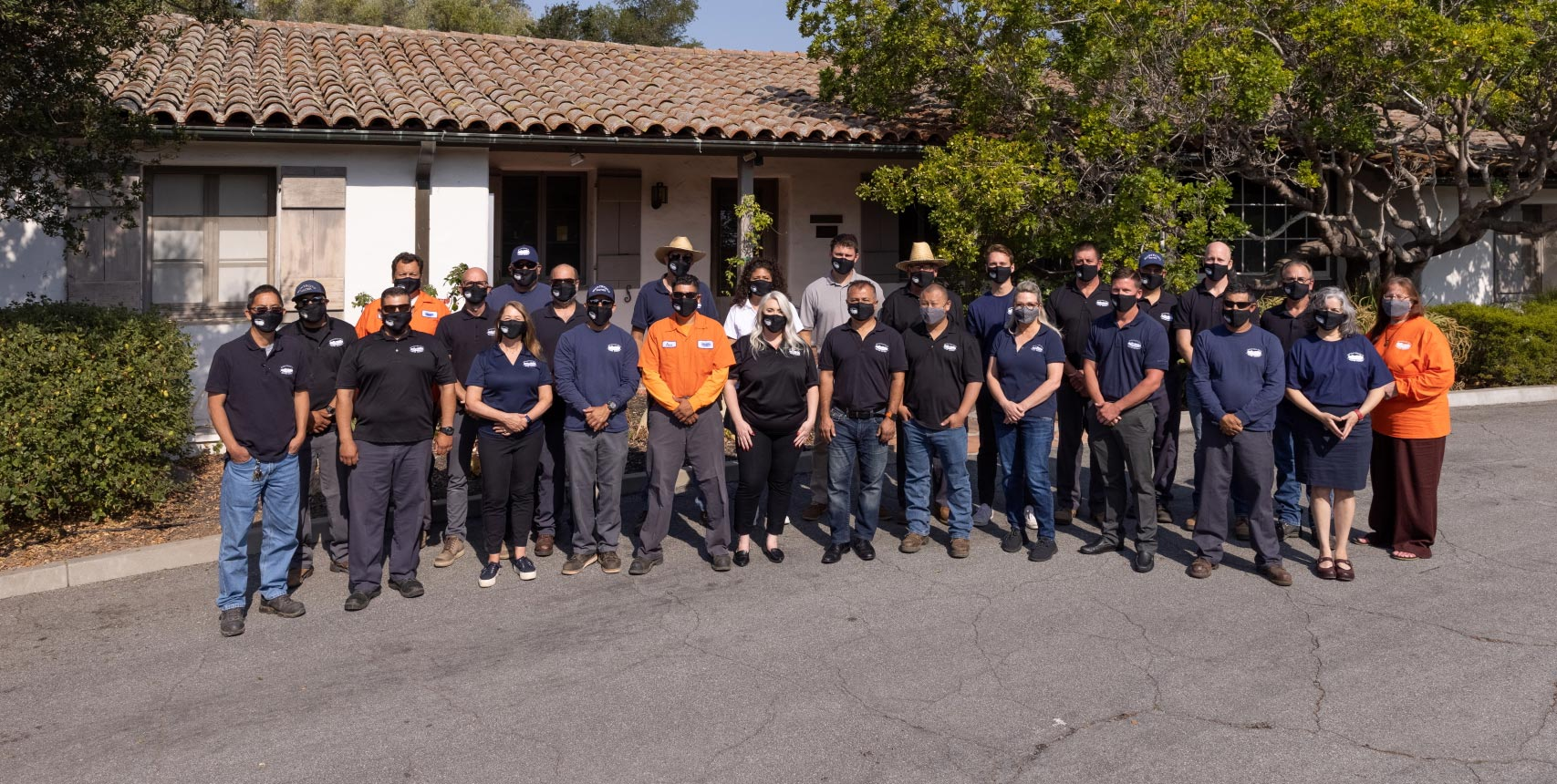 Vaccinated Montecito Water District staff, all wearing face masks.