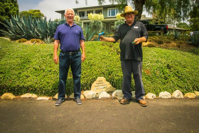 Howard Silver, Montecito Water District's Regional Winner in the 2021 WaterWise Garden Recognition Contest, meets with Conservation Specialist Mike Clark in front of his award-winning garden.